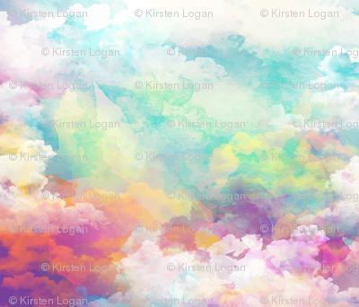 Watercolor pastel clouds