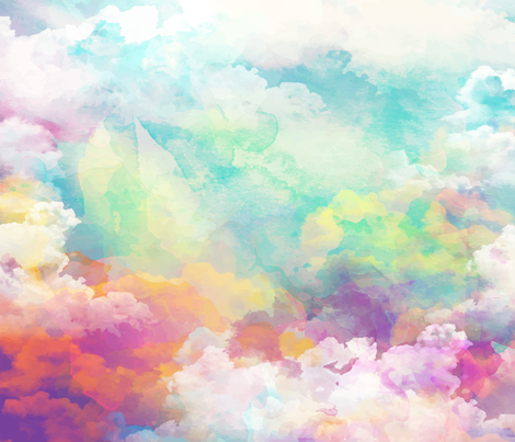 Watercolor pastel clouds fabric by khaus on Spoonflower - custom fabric