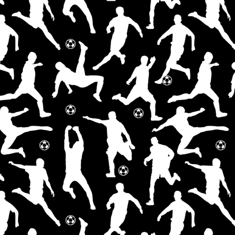 Soccer Players // Black // Small fabric by thinlinetextiles on Spoonflower - custom fabric
