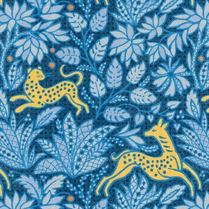 Small Fawn And Cat - Citrus/Indigo