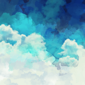 Watercolor Blue and White Clouds