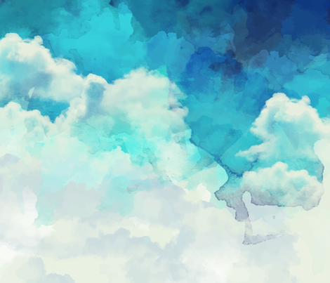 Watercolor Blue and White Clouds fabric by furbuddy on Spoonflower - custom fabric