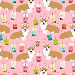 corgi bubble tea boba tea fabric cute kawaii corgis pattern design