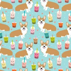 corgi bubble tea boba tea fabric cute kawaii corgis pattern design
