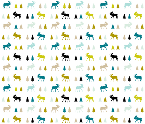 Moose Trot Mustard Seed fabric by ivieclothco on Spoonflower - custom fabric