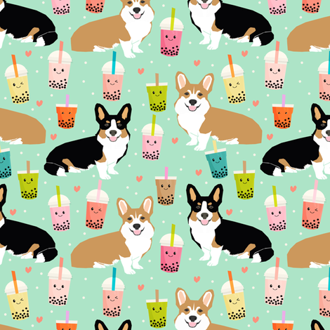 corgi bubble tea boba tea fabric cute kawaii corgis pattern design  fabric by petfriendly on Spoonflower - custom fabric