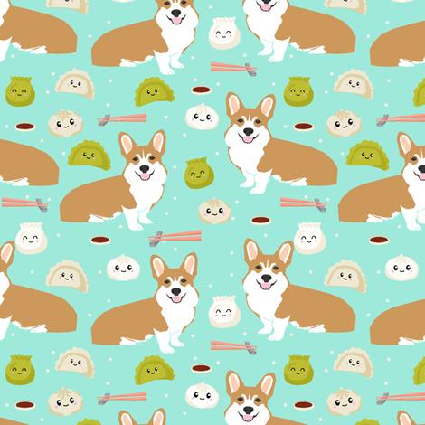 corgi dim sum dumplings bao kawaii food fabric cute corgi dogs design fabric by petfriendly on Spoonflower - custom fabric