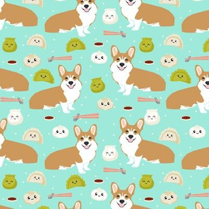 corgi dim sum dumplings bao kawaii food fabric cute corgi dogs design