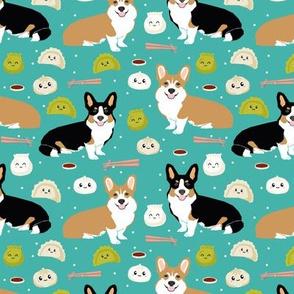 corgi dim sum dumplings bao kawaii food fabric cute corgi dogs design