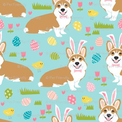 corgi easter bunny pastel spring fabric cute easter design