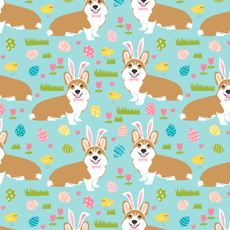 corgi easter bunny pastel spring fabric cute easter design fabric by petfriendly on Spoonflower - custom fabric