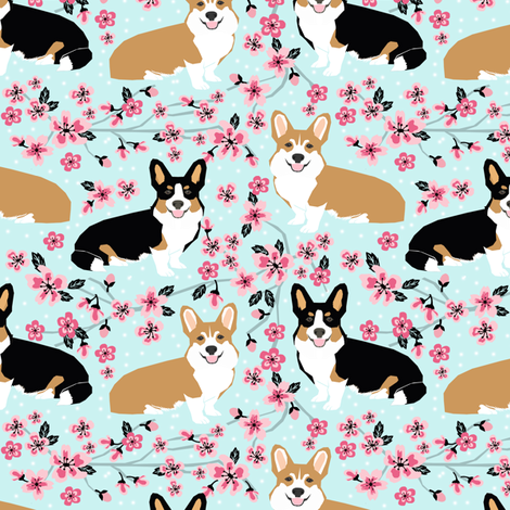 corgi spring florals fabric cherry blossom designs fabric by petfriendly on Spoonflower - custom fabric