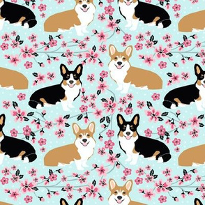 corgi spring florals fabric cherry blossom designs