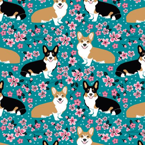 corgi spring florals fabric cherry blossom designs fabric by petfriendly on Spoonflower - custom fabric
