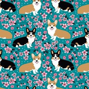 corgi spring florals fabric cherry blossom designs