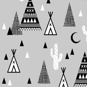 night time tipi - southwest cactus trendy baby design greyscale black and white grid
