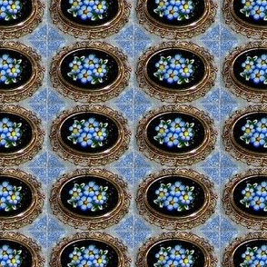 blue mosaic antique pin 2