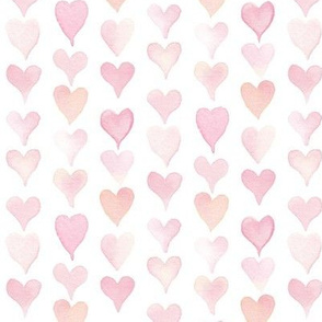 Peach and pink watercolor hearts