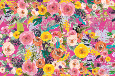 Autumn Blooms Floral // Hot Pink (Large)