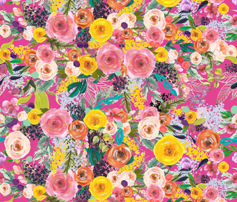 Autumn Blooms Floral // Hot Pink (Large) fabric by theartwerks on Spoonflower - custom fabric