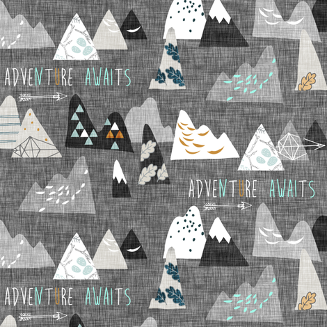 Adventure Awaits (charcoal) SMALL fabric by nouveau_bohemian on Spoonflower - custom fabric