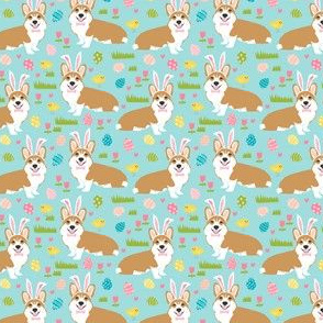 corgis pastel easter fabric cute easter bunny chicks design