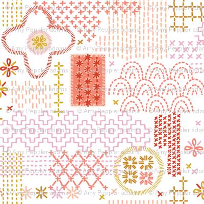 Fauxboro* (Reds on Sailboat) || embroidery stitch stitching needlepoint needlework boro Japanese collage geometric yarn thread patchwork low volume
