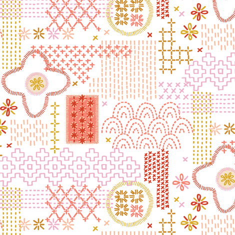 Fauxboro* (Reds on Sailboat) || embroidery stitch stitching needlepoint needlework boro Japanese collage geometric yarn thread patchwork low volume fabric by pennycandy on Spoonflower - custom fabric