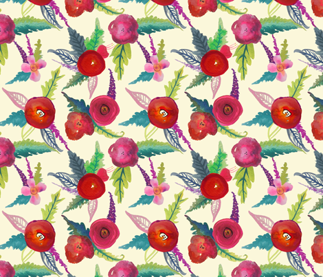 Island Poppies , Large Print // Ivory fabric by theartwerks on Spoonflower - custom fabric