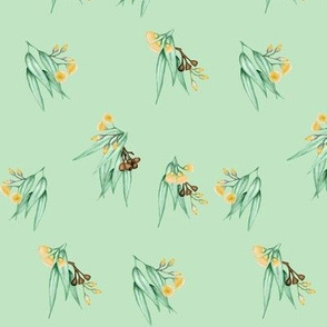 Gum Blossom Yellow Scattered on Pale Green