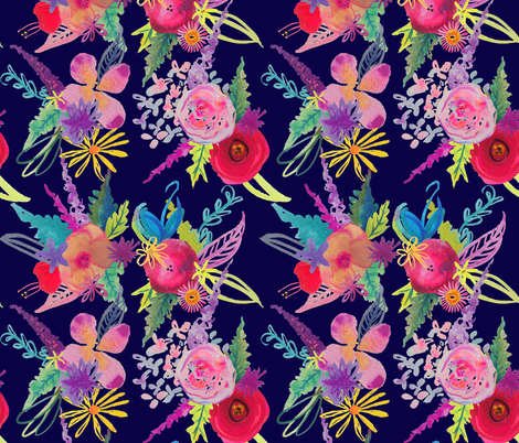 Summer in Turks // Navy Blue fabric by theartwerks on Spoonflower - custom fabric