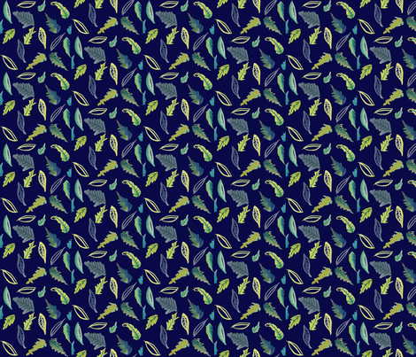Leaves of Provo // Navy fabric by theartwerks on Spoonflower - custom fabric