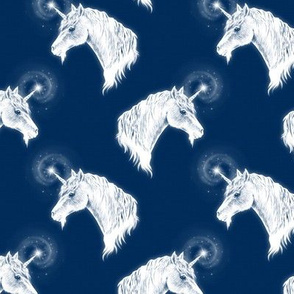 Unicorn Bust on Dark Denim