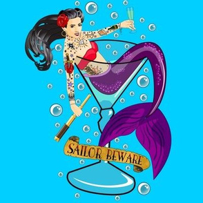 Sailor Beware Burnette Mermaid on Blue