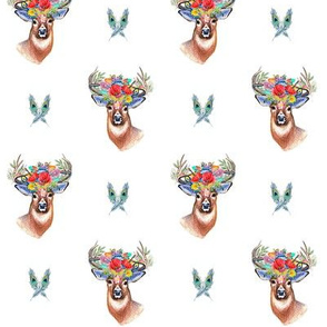 deer head, stag with antler and flowers