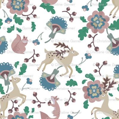 Deer Floral White