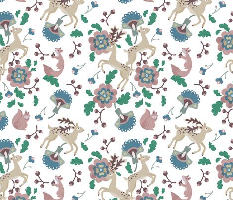 Deer Floral White fabric by thimblefolio on Spoonflower - custom fabric
