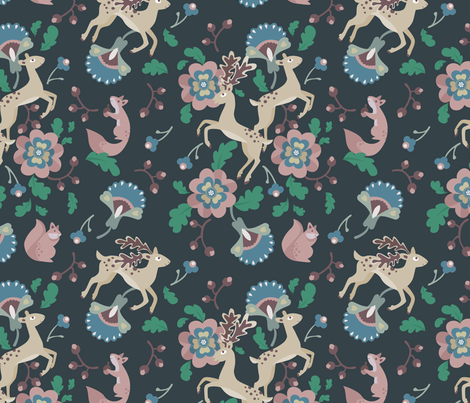 Deer Floral Blue fabric by thimblefolio on Spoonflower - custom fabric