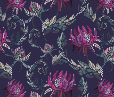Embroidered flowers fabric by elena_naylor on Spoonflower - custom fabric