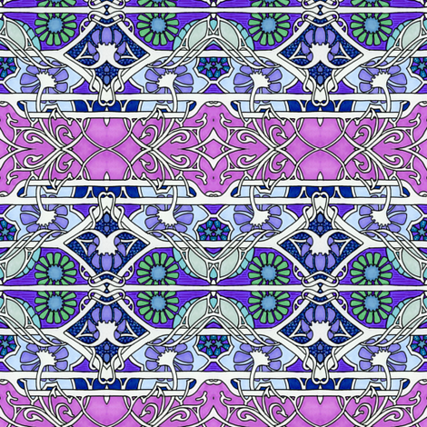 Dripping Pink and Purple Flower Stripe fabric by edsel2084 on Spoonflower - custom fabric