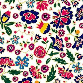 flamenco small flowers on white