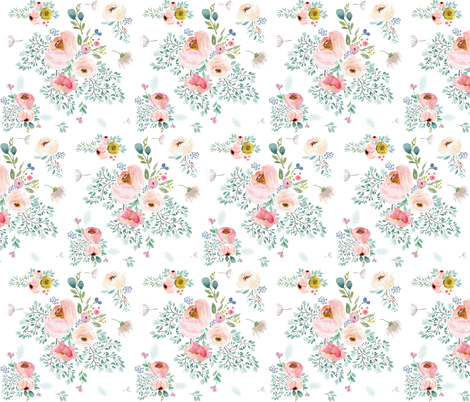"""6"""" April Love / Full Bloom - White fabric by shopcabin on Spoonflower - custom fabric"""