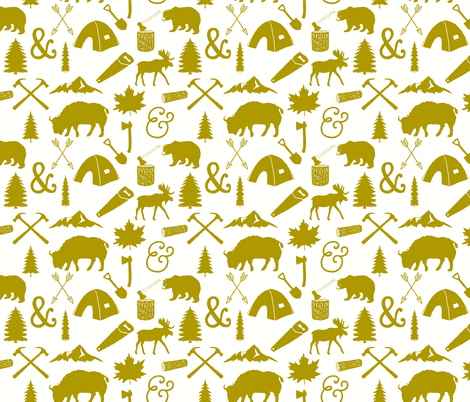 Mustard Woodcutter fabric by ivieclothco on Spoonflower - custom fabric