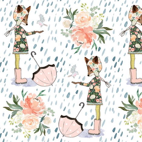 "6.5"" Spring Friends Rainfall - White fabric by shopcabin on Spoonflower - custom fabric"