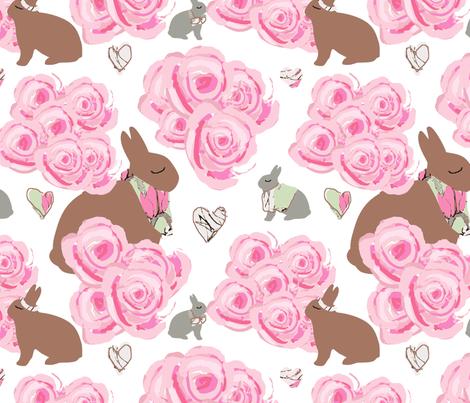 Shabby Chic Bunnies in my garden fabric by karenharveycox on Spoonflower - custom fabric