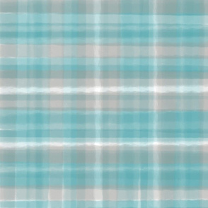 Aqua Tan Plaid