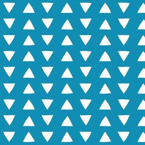 blue hand drawn triangles
