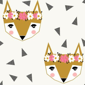 flower fox girly cute pink cream