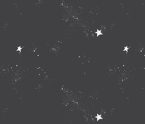 2_stars_and_micro_dots / charcoal + off white fabric by all_things_minimal on Spoonflower - custom fabric