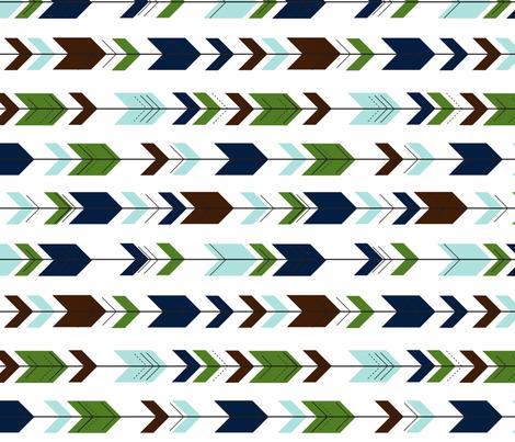 fletching arrows (90) || green/navy fabric by littlearrowdesign on Spoonflower - custom fabric